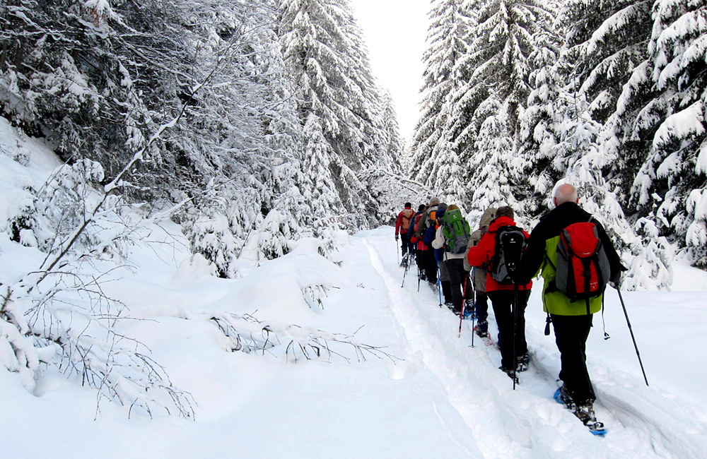 snowshoeing in vitosha mountains, bulgaria